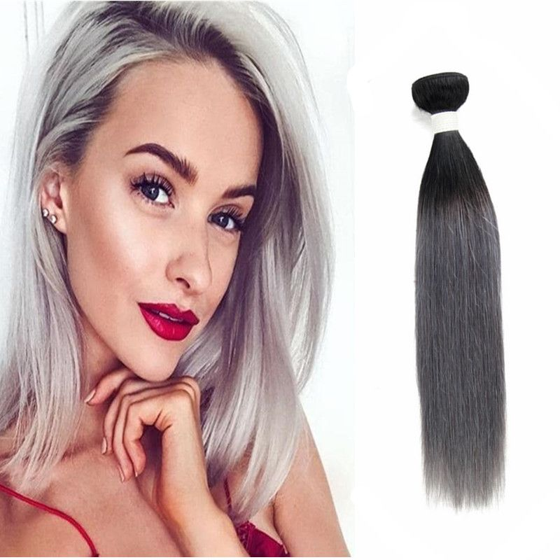Sliky Straight Hair 3 Bundle 1B/Grey Ombre Remy Human Hair