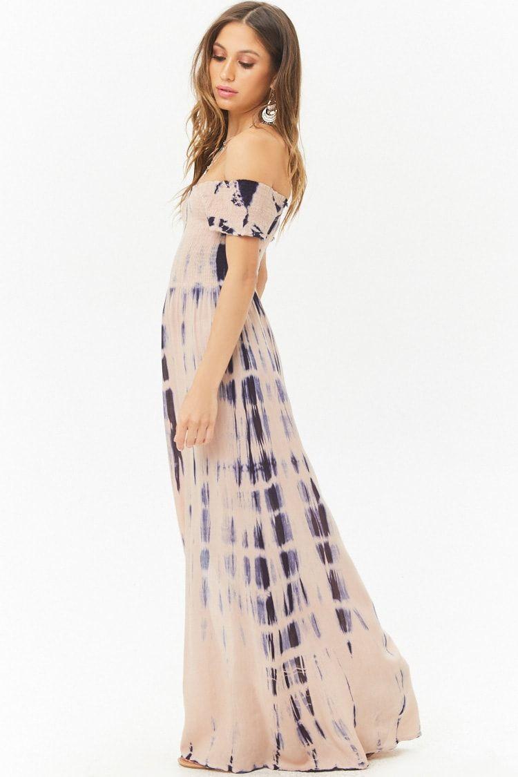Boho me tiedye smocked offtheshoulder splitfront maxi dress