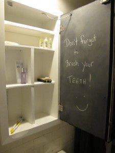 cute idea turn back of medicine cabinet mirror into message board diy chalkboard spray. Black Bedroom Furniture Sets. Home Design Ideas