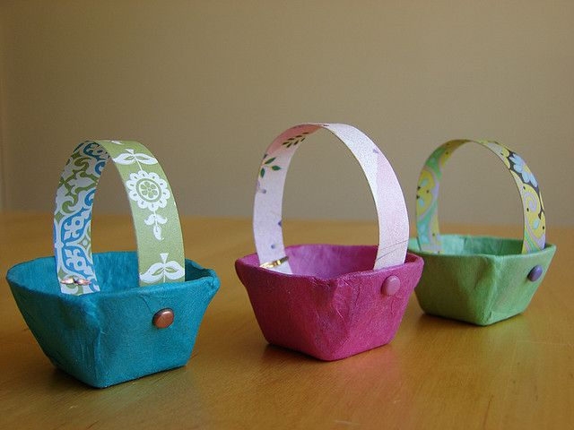 Trio of baskets egg cartons easter and crafts mini easter baskets from egg cartons negle Images