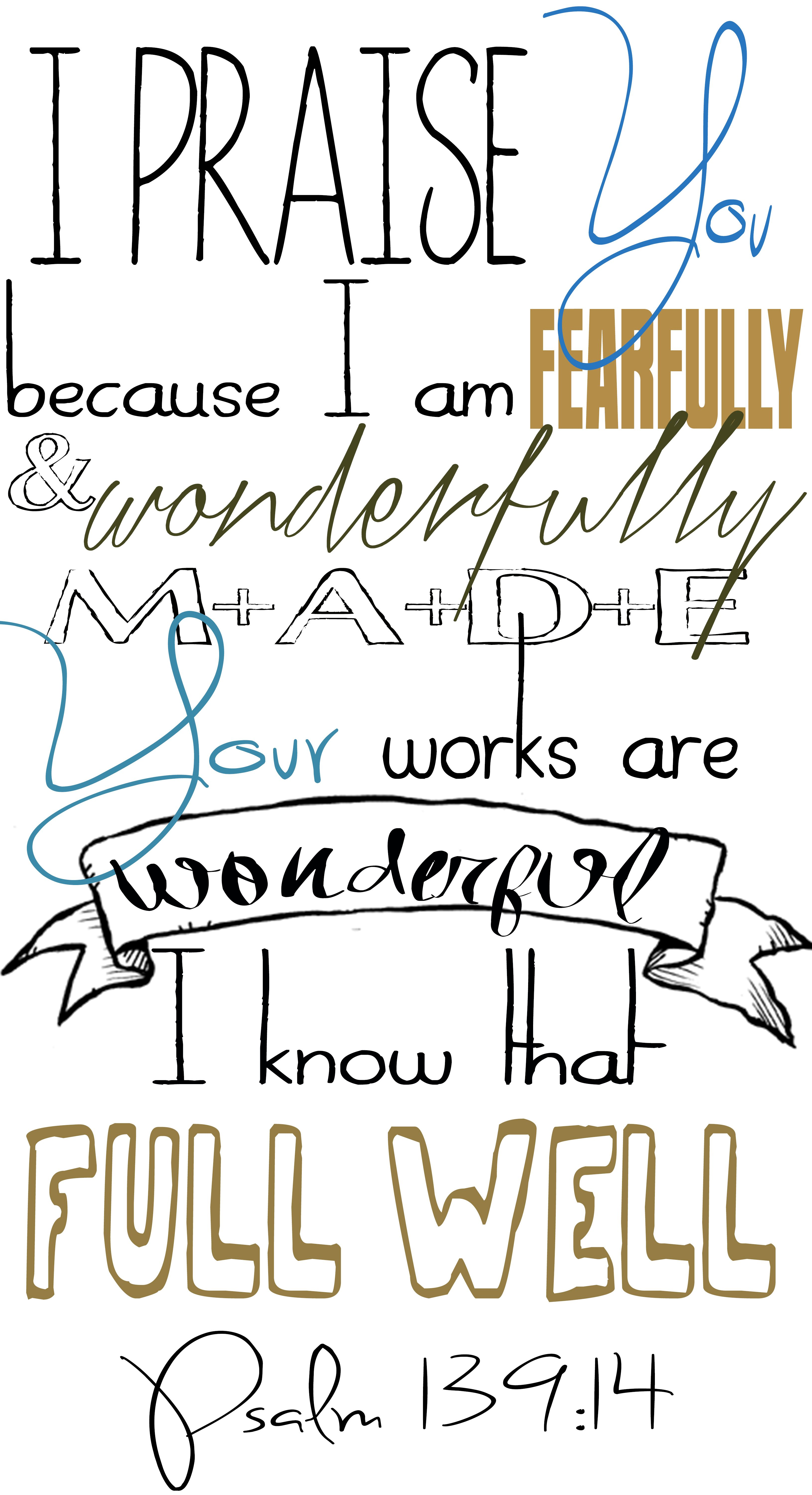 Psalm 139:14 Fearfully and Wonderfully Made Photoshop Typography