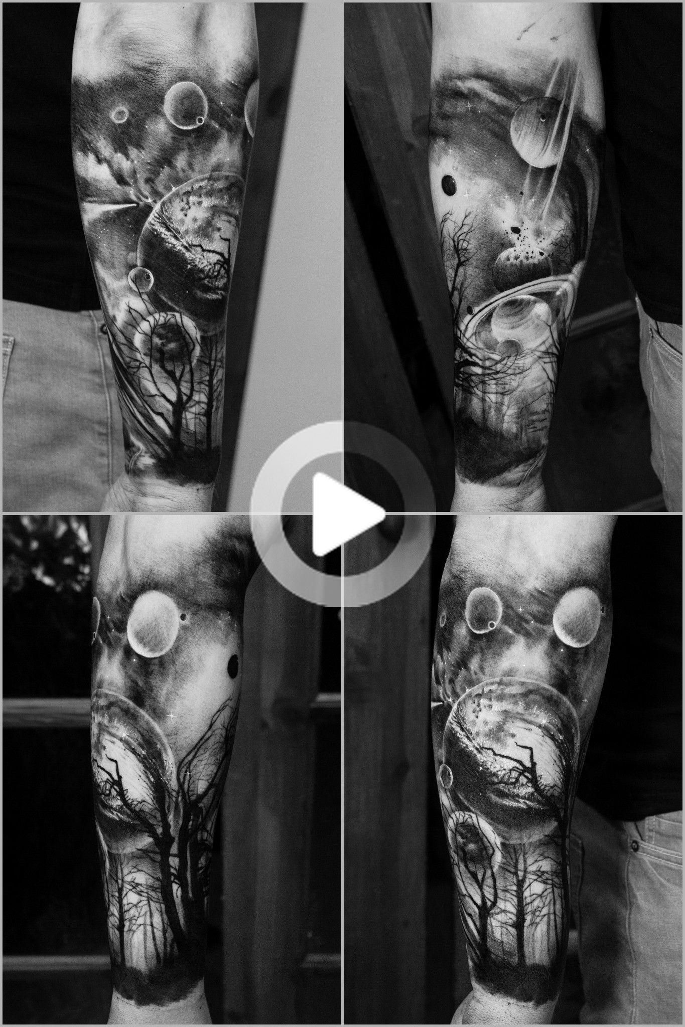 Half Sleeve Space Tattoo With Foggy Forest And Road By Elle Gottzi Inkdependent Tattoo In 2020 Space Tattoo Foggy Forest Tattoos