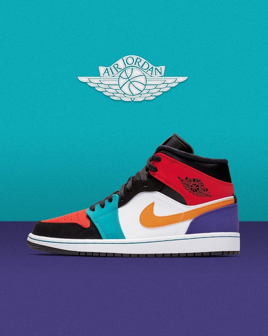 buy online 84245 63473 he Air Jordan 1 Mid Multicolor is now available online ⏩ www.sneak-a-venue. com  AirJordan1Mid  Multicolor  sneakAvenue . . .  airjordan