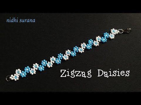 Photo of ⚜️ Zigzag Daisies || Seed beads || Bracelet || Necklace || Pulsera || Collar (0355)