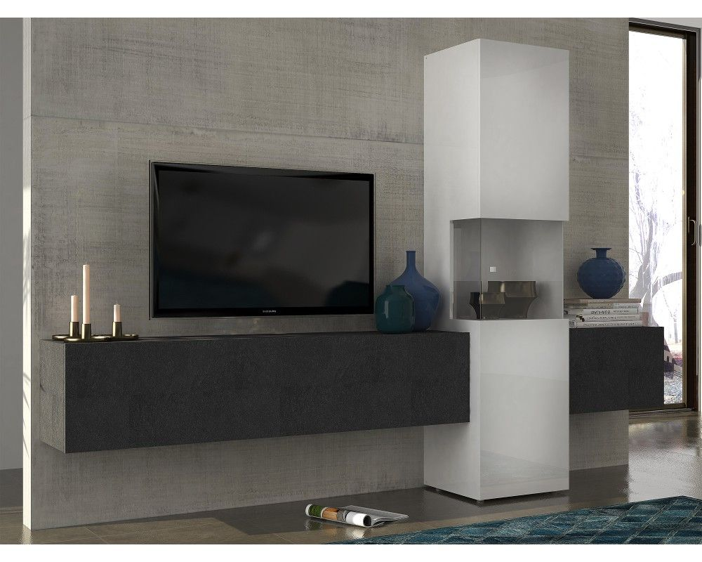 Http Mobiliernitro Com 25662 Thickbox_atch Meuble Tv Mural  # Meuble Living Blanc Laque Brillant