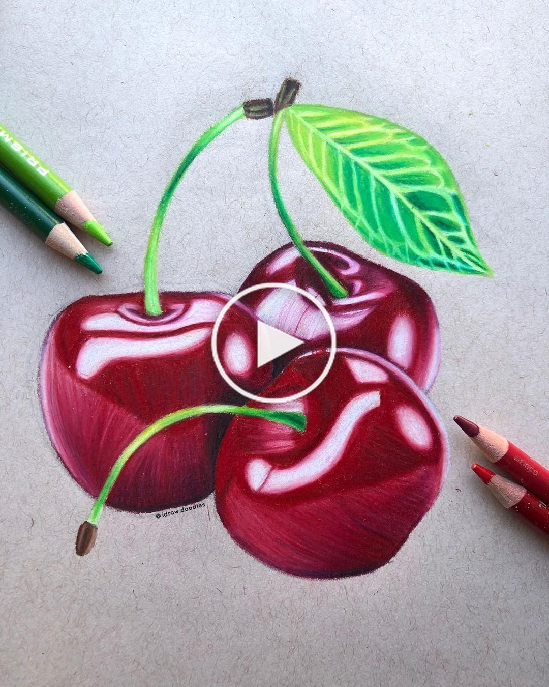 Leeor On Instagram Cherriesssss Hiiiiiiii I Haven T Posted In A Bit But I Decid In 2020 Cherry Drawing Art Drawings Simple Color Pencil Art