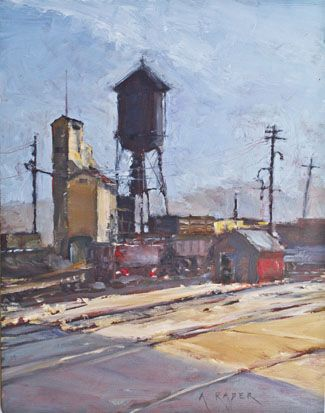 Nevada Northern Railway's East Ely yard. Painting by April Raber