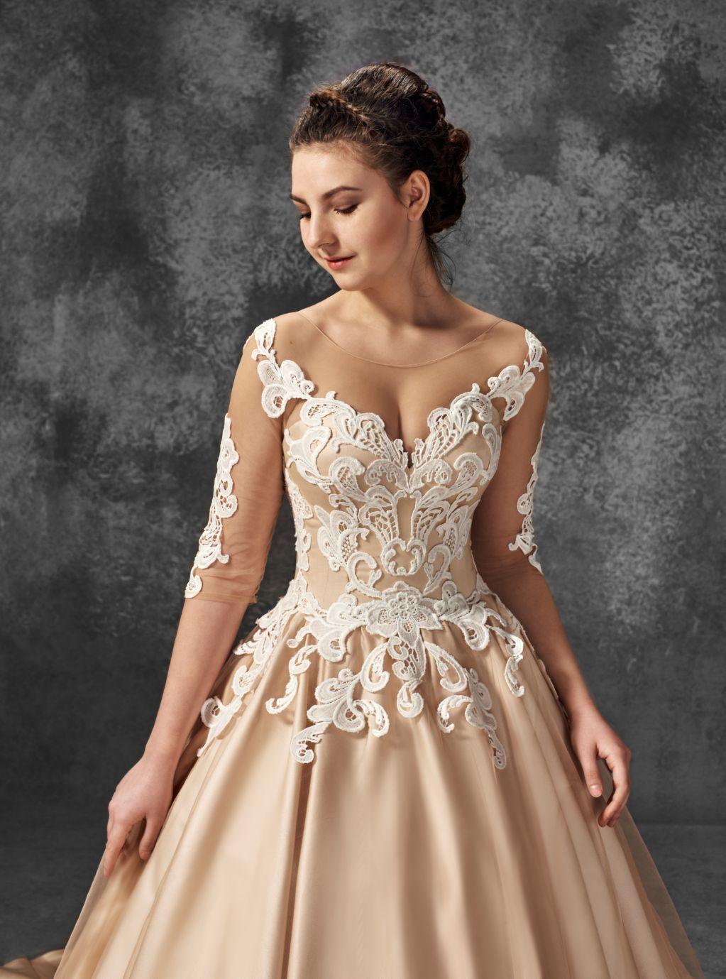 Blush wedding dress with sleeves  Wedding Dress Vivian Nude Blush wedding dress  Lace Wedding Dress