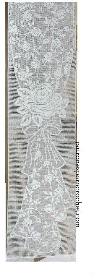 Cortina de lujo tejida en crochet filet cortinas tejidas for Cortinas ganchillo