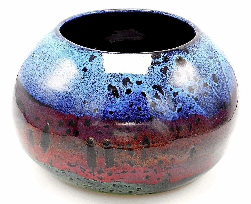 Colorado studio art pottery round low bowl vase pot 9 blue purple colorado studio art pottery round low bowl vase pot 9 blue purple teal glazed reviewsmspy