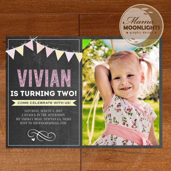 Chalkboard Birthday Party Invitation Digital by MamaMoonlights, $12.00
