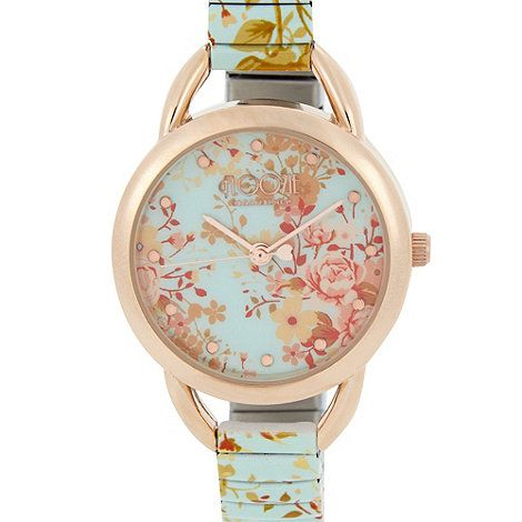 From Floozie by Frost French, this stylish ladies silver watch is styled with a gorgeous green floral print and a thin link stretch strap. It has a stylish rose gold plated bezel and hour markers with a floral printed face.