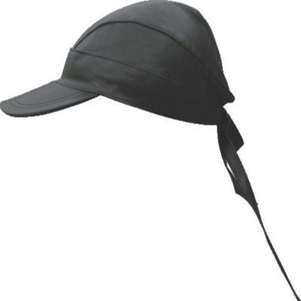 Black Leather Biker Skull Cap with Visor
