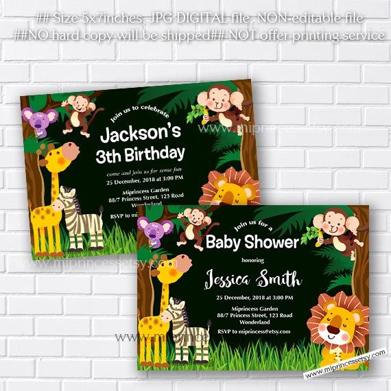Jungle animal baby shower jungle birthday invitation elephant jungle animal baby shower jungle birthday invitation elephant lion giraffe monkey little boy party party invitation card 363 stopboris Images