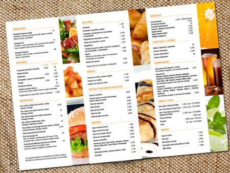 Carta men tr ptico a3 cartas menus pinterest for Disenos de menus para cafeterias