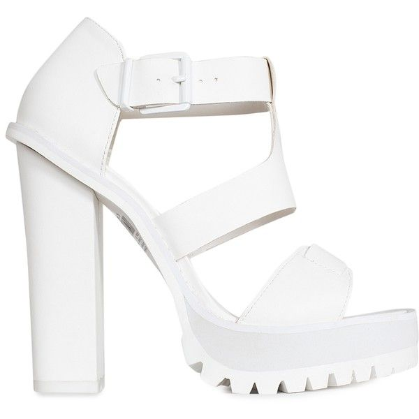 c621d8e266 Nly Shoes Chunky Heel Sandal (£45) ❤ liked on Polyvore featuring shoes,  sandals, heels, party shoes, white, womens-fashion, platform heel sandals,  ...