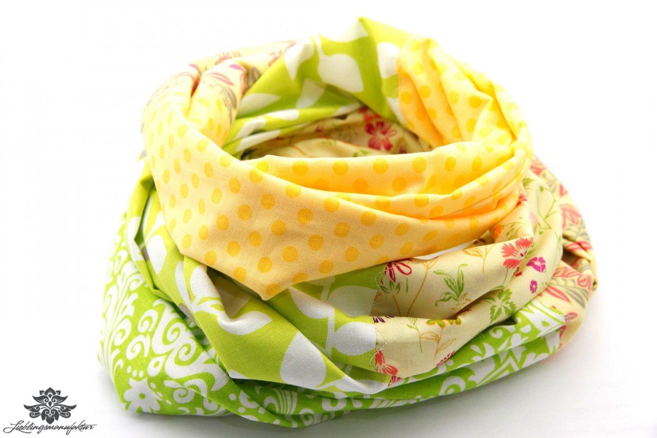 Sommer - Tuch / Patchwork - Loop - Schal mit Blumenmuster und Pünktchen in Gelb- und Grün - Tönen; ein Lieblingsstück aus der #Lieblingsmanufaktur