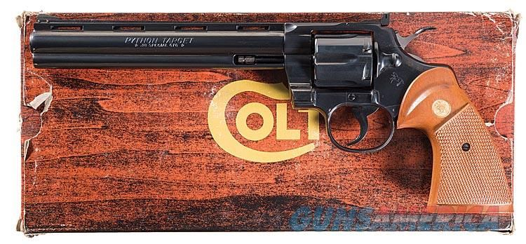 COLT PYTHON .38 SPECIAL IN COLT BLUE WITH HIGHLY DESIRABLE 8 INCH VENT RIBBED BARREL. COLT WOOD GRAINED BOX.  Guns > Pistols > Colt Double Action Revolvers- Modern