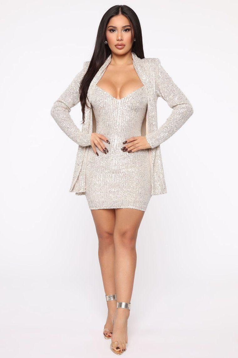 Attract The Paparazzi 2 Piece Mini Dress Set Silver In 2021 Mini Dress Dresses Set Dress [ 1140 x 760 Pixel ]