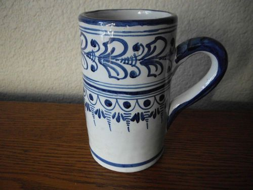 Talavera Glazed Pottery Coffee Mug Stein Blue on White Floral Abstract | eBay