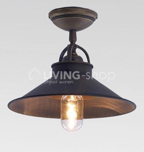 Plafondlamp brons authentiek landelijke stijl living shop for Landelijke lampen