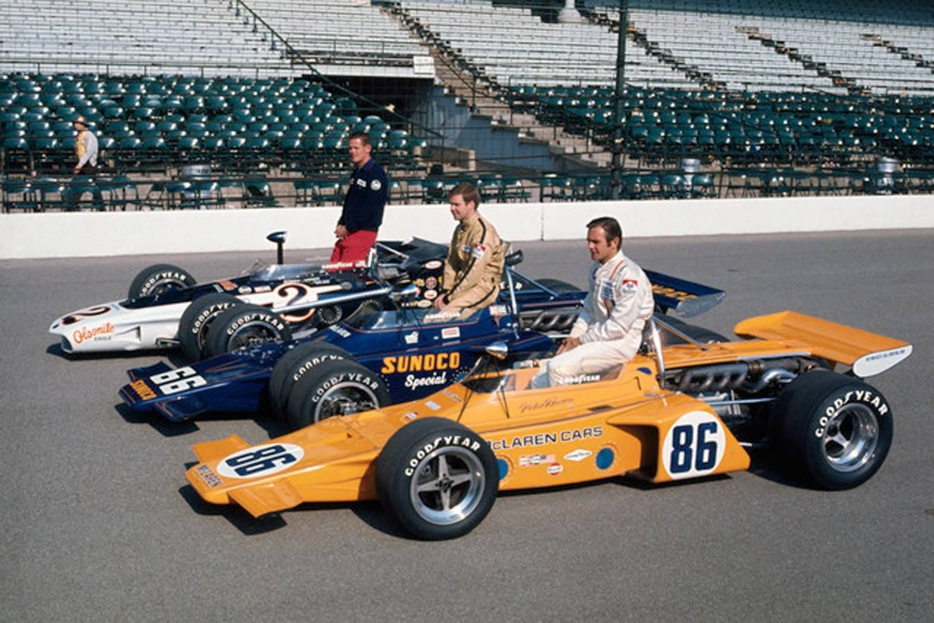 1971 Indy 500 front row . Peter Revson , Mark Donohue