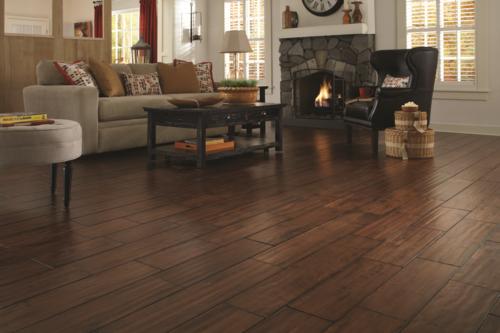 Modern meets rustic with wide plank handscraped floors