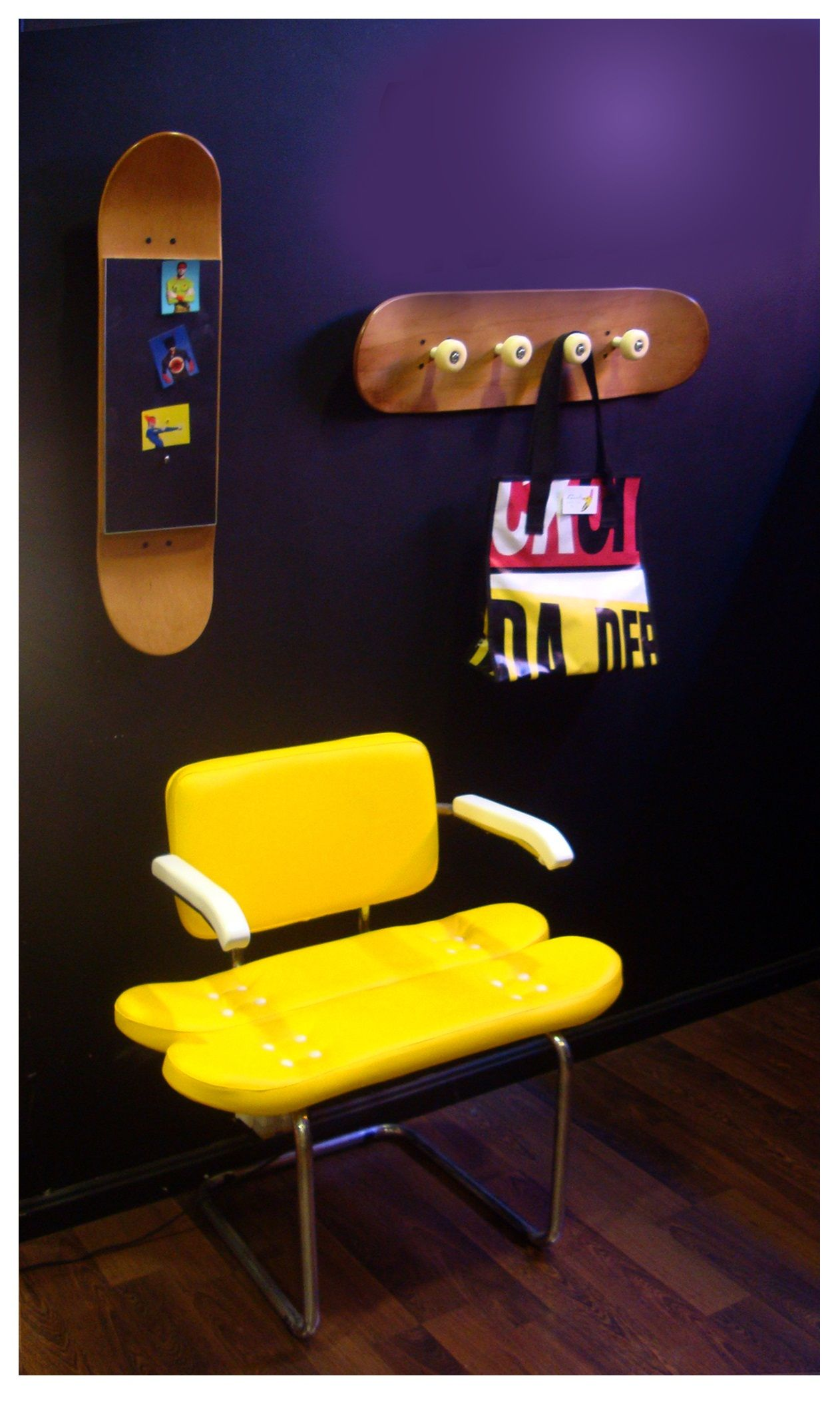 Cool yellow chair, mirror and coat rack furniture design with ...