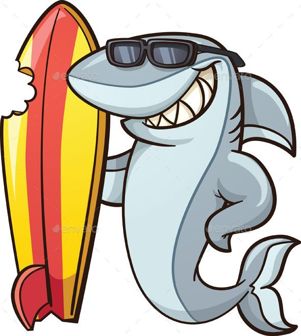 Shark With Surfboard Shark Illustration Shark Mural Shark Art