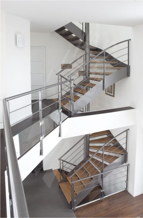Escalier métal et bois, photo DT71 - SPIR\u0027DÉCO® D\u0027Angle Mixte Droit