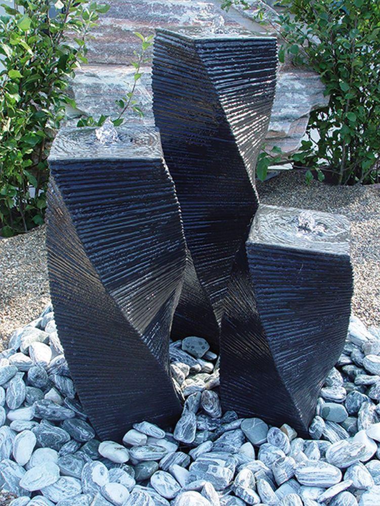 Details zu Wasserspiel Einzelsäule 55 cm Stele gedreht schwarz Springbrunnen Säulenbrunnen ~ 28035815_Springbrunnen Garten Gebraucht
