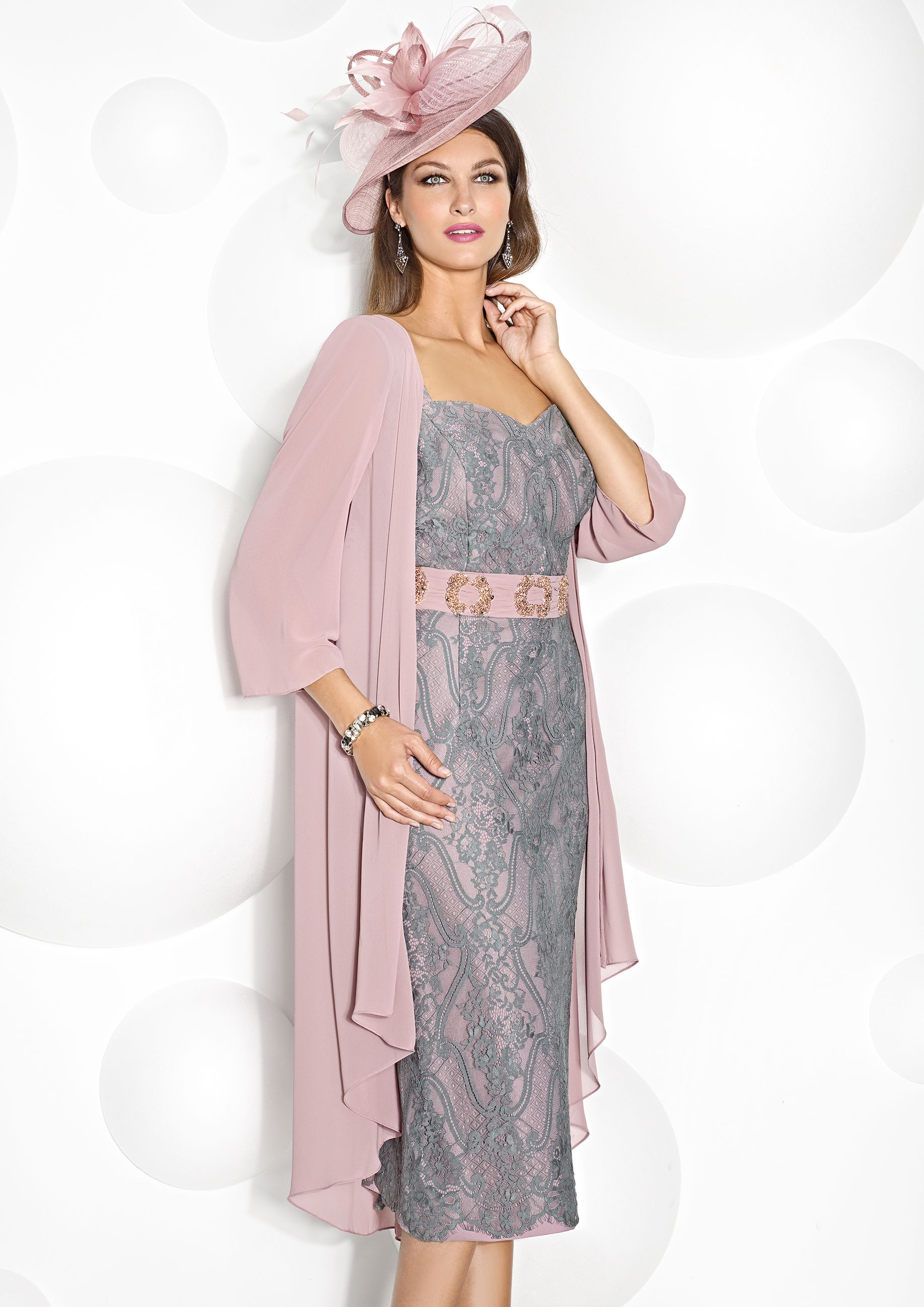 d3f359b794a Pink and silver lace dress with pink floaty coat by Cabotine perfect for  the summer wedding. www.froxoffalkirk.com