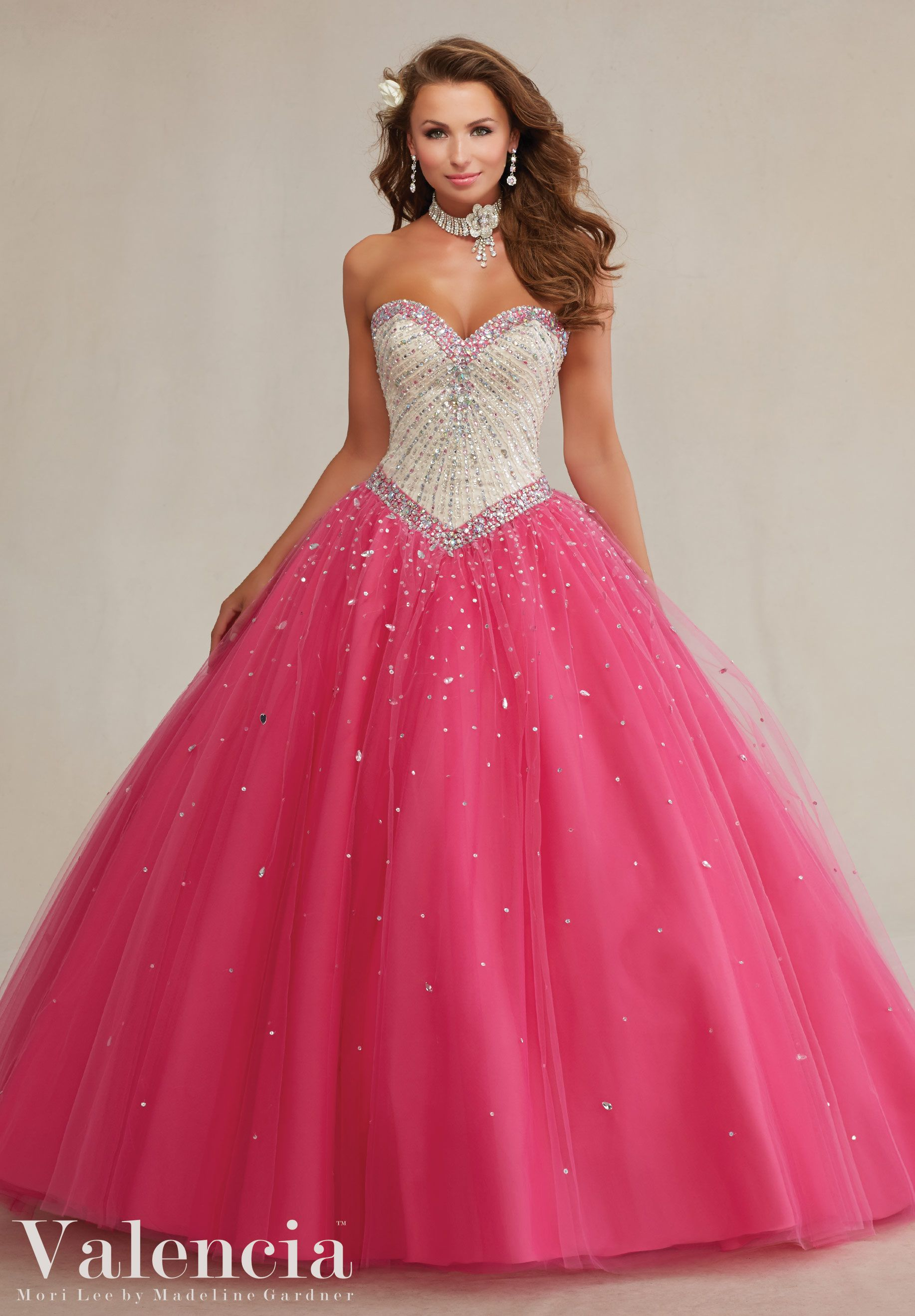 Quinceanera dresses by Vizcaya Layered Tulle with Beading Matching ...
