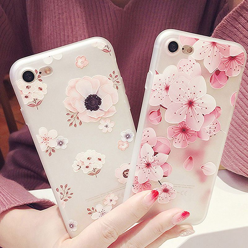Silicone 3D Relief Flower Tpu Soft Shell Phone Case Back