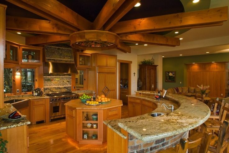 circular kitchen design | gorgeous and rustic circular kitchen