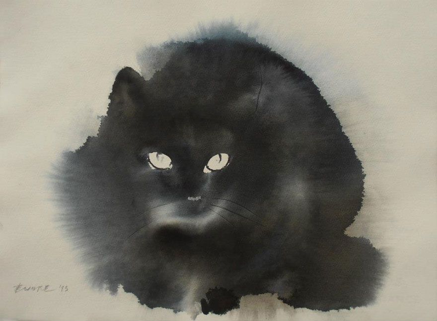 Serbian painter Endre Penovac is back at it again with a new series of watercolor cats. When we saw his work last, Penovac's subject was black cats that seem to fade into the paper. Now, color and negative space have entered the artwork.  Penovac was born in Tornjoš in 1956 and completed his studies at the Academy of fine arts in Novi Sad. He is an independent artist, and has been exhibiting since 1981 across Europe