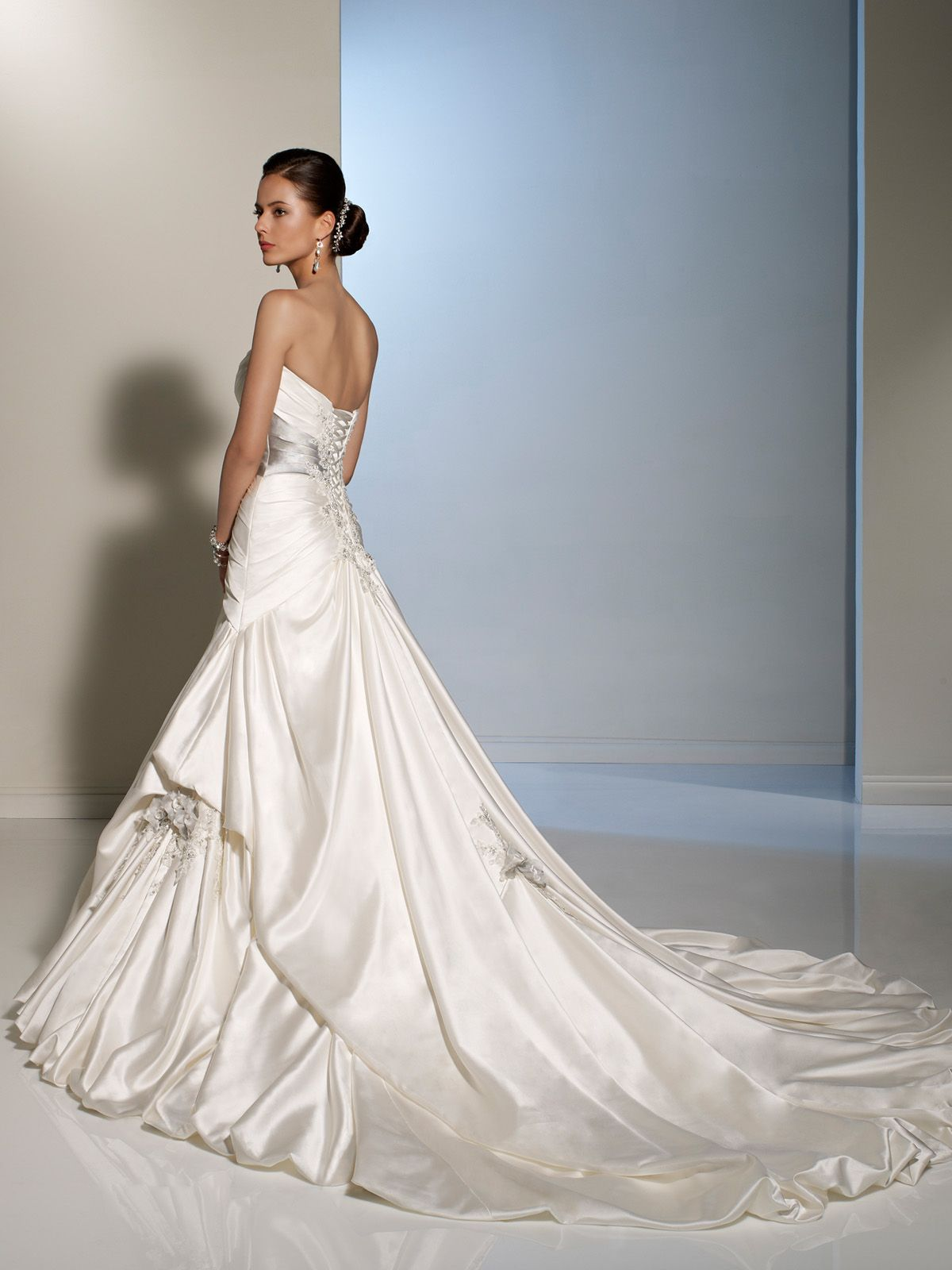 Pacifica is a uniquely modern ball gown crafted from paris satin and