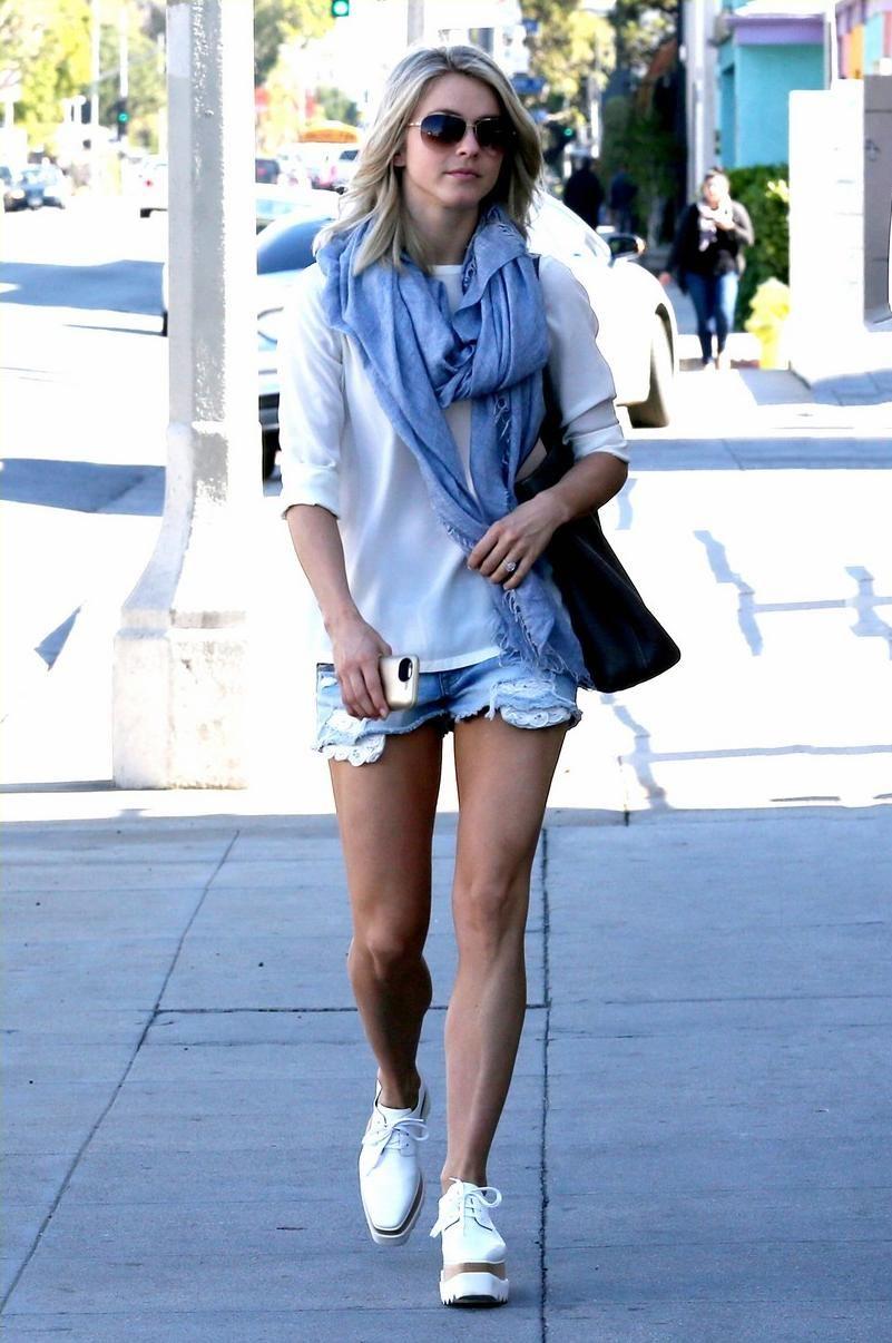 da4d29426736 Julianne Hough wearing Hermes Double Sens Shopping Tote Bag and Stella  McCartney Elyse Cutout Platform Shoes