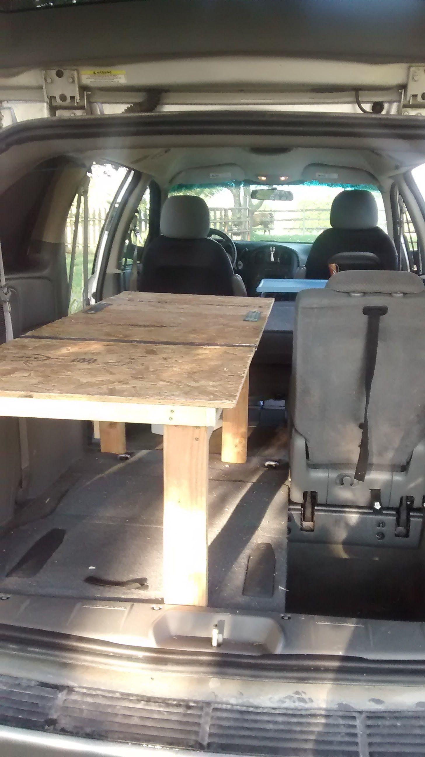 Bed Setup With Middle Seat Folded Forward 2006 Dodge Caravan