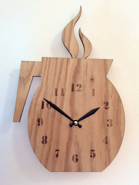 Wooden Hot Coffee Pot Clock Christmas Gift For Couple Birthday Etsy Wood Wall Clock Coffee Clock Wood Clocks