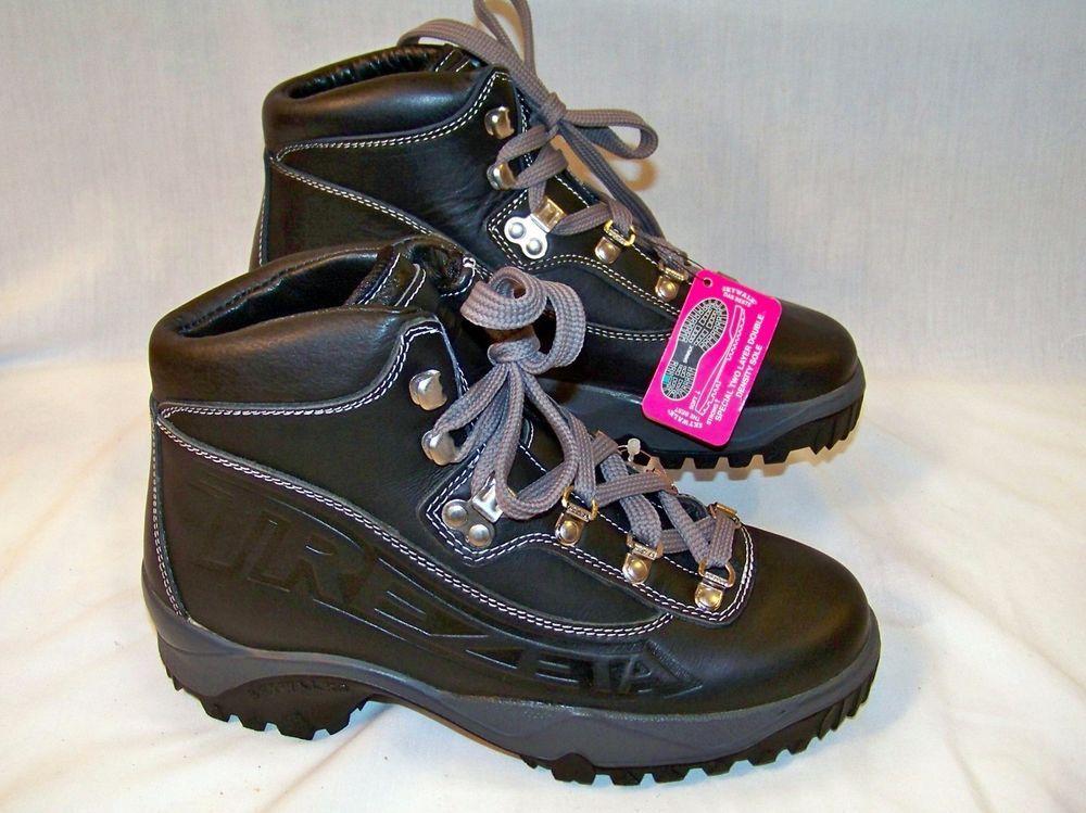 82bbf13f537 NWT Trezeta Skywalk Black Leather Hiking Boots Mens US 6 1/2 EU 39 ...