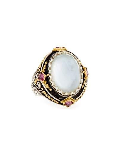 Y3N3V Konstantino North-South Mother-of-Pearl Ring with Pink Sapphire & Tourmaline