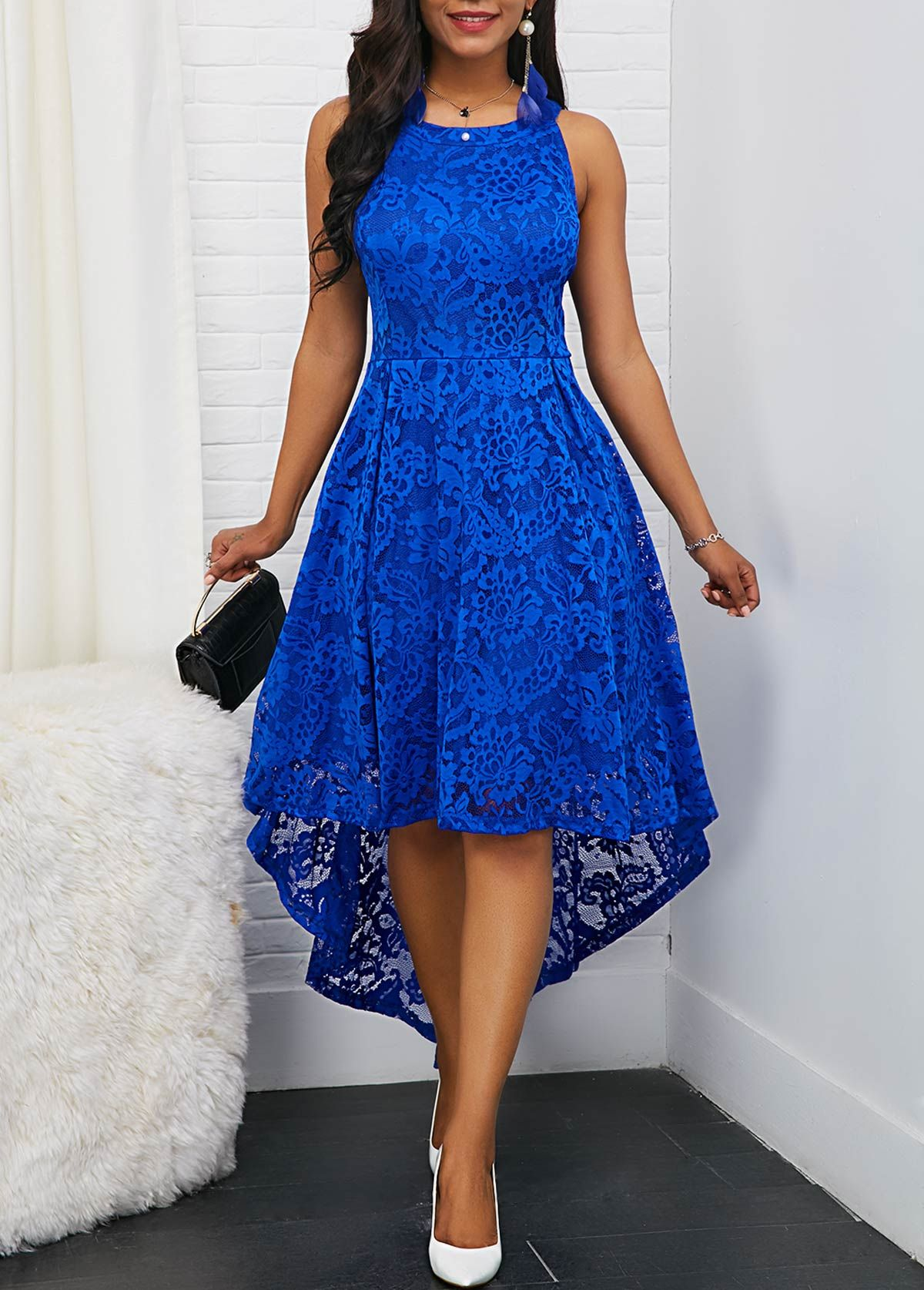 Sleeveless Royal Blue Round Neck High Low Lace Dress #dress