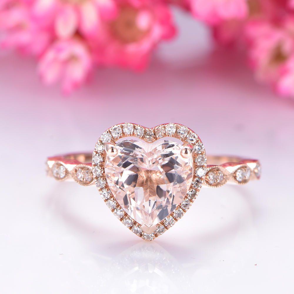 Morganite engagement ring 8mm hearted pink morganite ring art deco ...