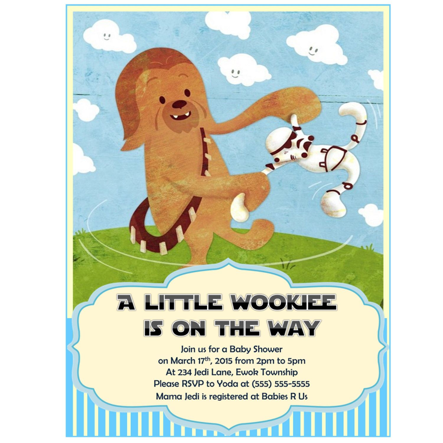 Star Wars Baby Shower Invitation Chewbacca Boy Baby Shower