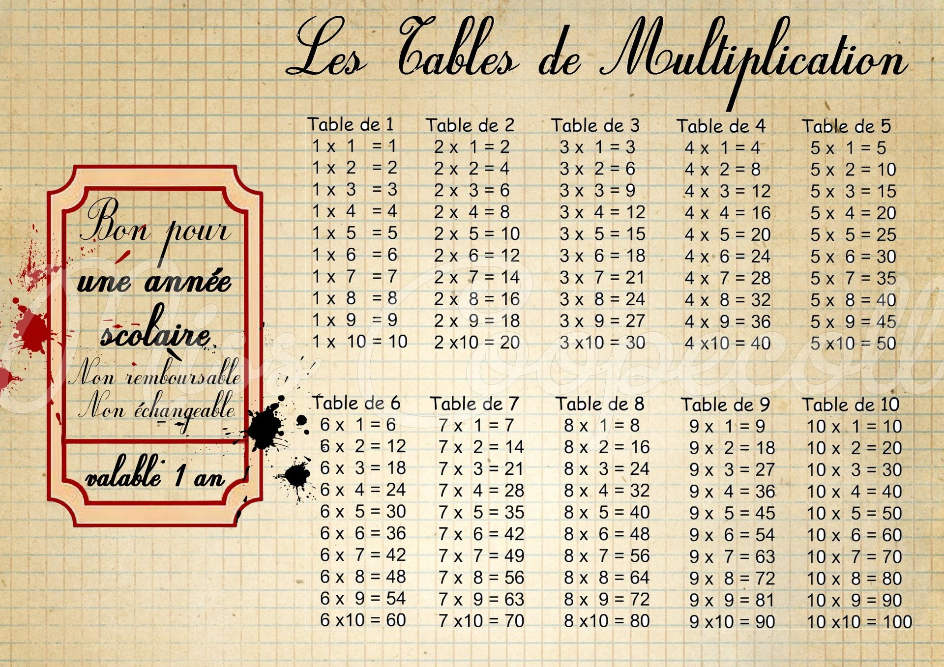 Table De Multiplication Plastifiée Format A4 Cest La