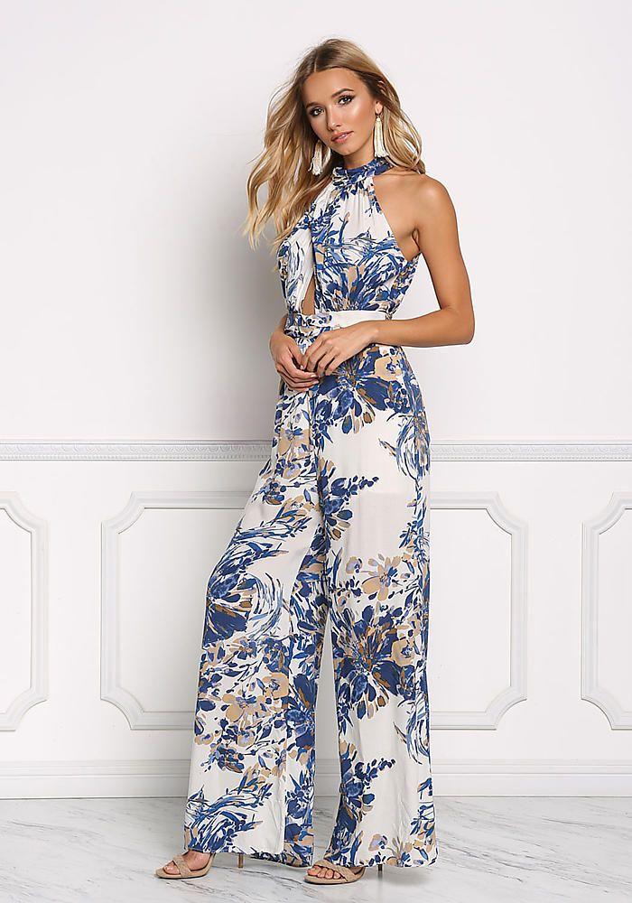 c59facba2910 Blue Floral Back Cut Out Jumpsuit - Jumpsuits   Rompers - Clothes ...