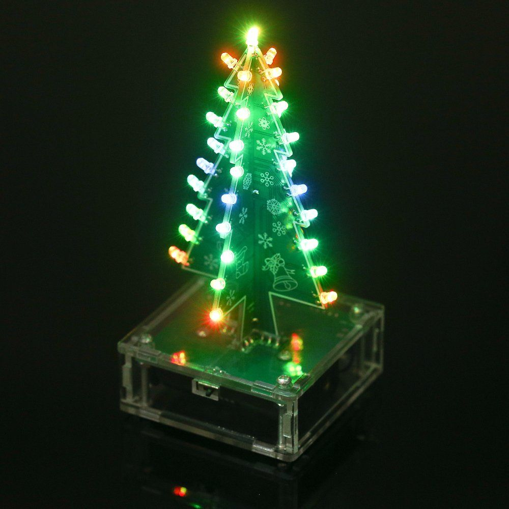 Kkmoon Diy Christmas Tree Colorful Led Light Acrylic With Music Electronic Learning Kit Module Xmas Deco Christmas Tree Kit Diy Christmas Tree Xmas Decorations