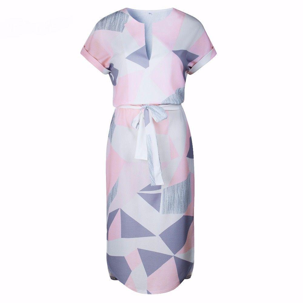 Deep v neck print short sleeve pleated women dress short sleeves