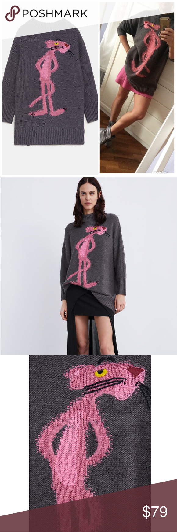 ee6927a55f ZARA Oversized Pink Panther Sweater Loose knit sweater with round ...